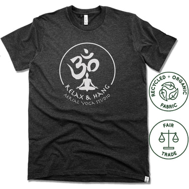 RELAX AND HANG AERIAL YOGA STUDIOS | FAIRTRADE FREESET BLACK UNISEX TEE | WHITE LOGO