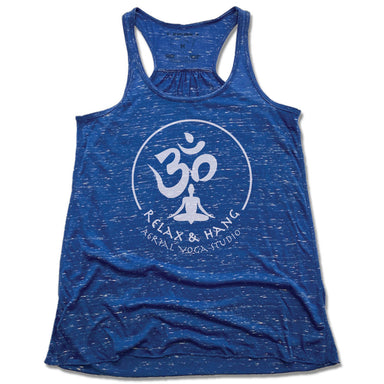 RELAX AND HANG AERIAL YOGA STUDIOS | LADIES BLUE FLOWY TANK | WHITE LOGO