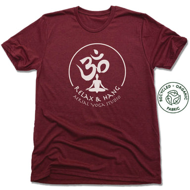 RELAX AND HANG AERIAL YOGA STUDIOS | UNISEX VINO RED Recycled Tri-Blend | WHITE LOGO
