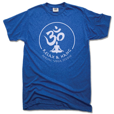 RELAX AND HANG AERIAL YOGA STUDIOS | UNISEX BLUE TEE | WHITE LOGO
