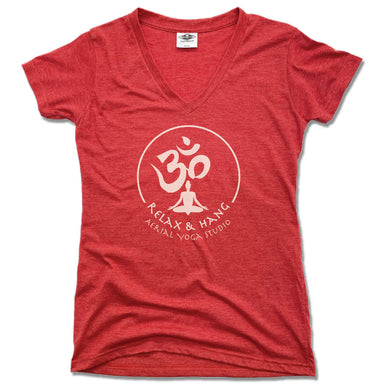 RELAX AND HANG AERIAL YOGA STUDIOS | LADIES RED V-NECK | WHITE LOGO