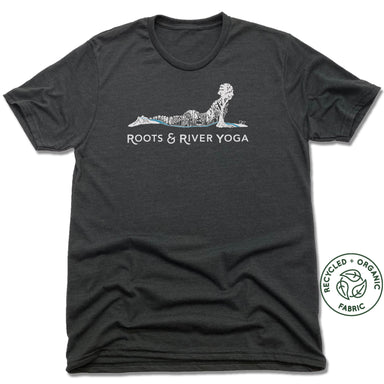 ROOTS & RIVER YOGA | UNISEX BLACK Recycled Tri-Blend | WHITE LOGO