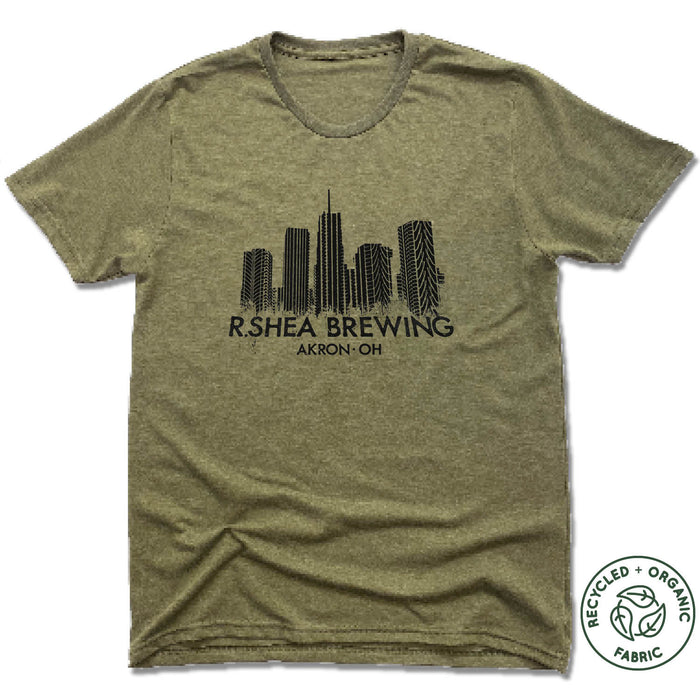 R. SHEA BREWING. | UNISEX OLIVE Recycled Tri-Blend | AKRON SKYLINE