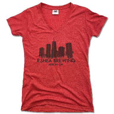 R. SHEA BREWING. | LADIES RED V-NECK | AKRON SKYLINE