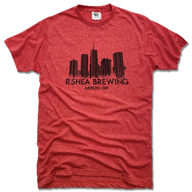 R. SHEA BREWING. | UNISEX RED TEE | AKRON SKYLINE