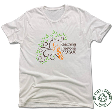 REACHING TREETOPS YOGA | UNISEX WHITE Recycled Tri-Blend | LOGO