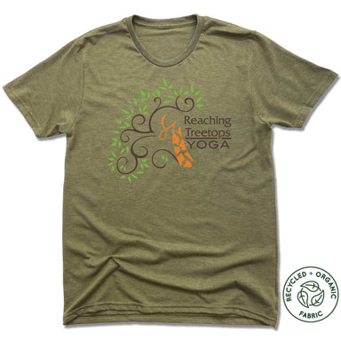 REACHING TREETOPS YOGA | UNISEX OLIVE Recycled Tri-Blend | LOGO
