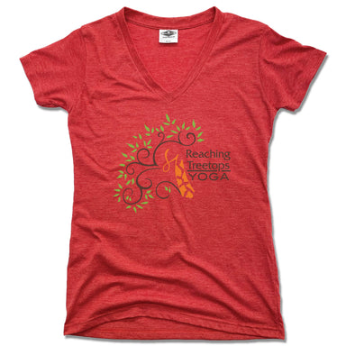 REACHING TREETOPS YOGA | LADIES RED V-NECK | LOGO