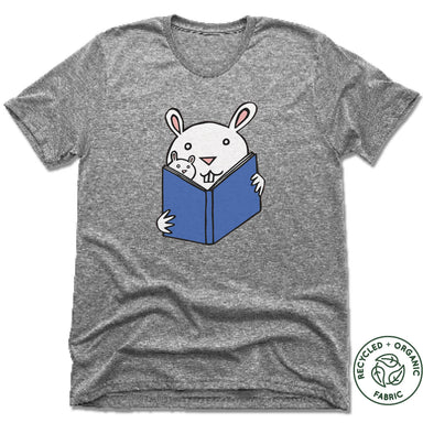 READ WITH ME | UNISEX GRAY Recycled Tri-Blend | READING BUNNIES
