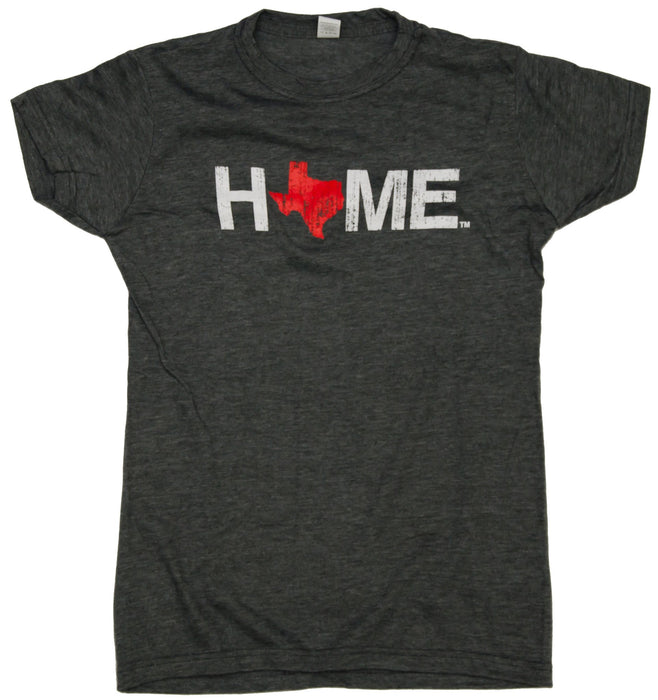 Ladies' Charcoal HOME Crew Neck with a red Texas as the O
