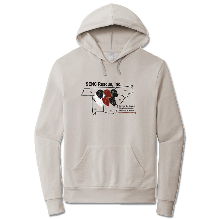 SENC RESCUE, INC. | LIGHT GRAY FRENCH TERRY HOODIE | BLACK LOGO
