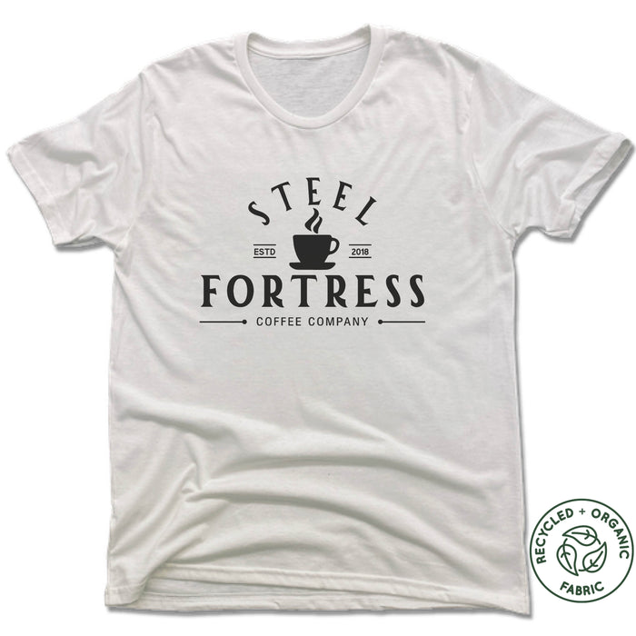 STEEL FORTRESS COFFEE | UNISEX WHITE Recycled Tri-Blend | LOGO