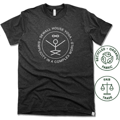 SEWALL HOUSE YOGA RETREAT | FAIRTRADE FREESET BLACK UNISEX TEE | WHITE LOGO