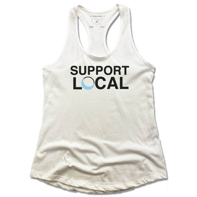Blue Luna Yoga & Wellness | LADIES WHITE TANK | SUPPORT LOCAL