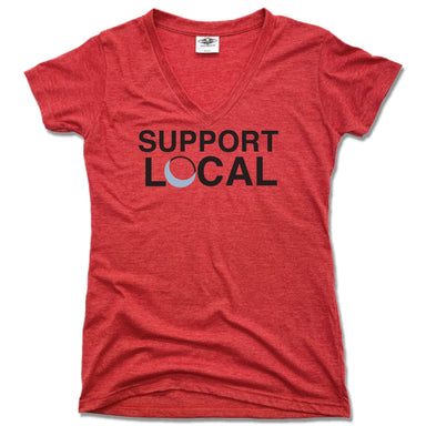 Blue Luna Yoga & Wellness | LADIES RED V-NECK | SUPPORT LOCAL