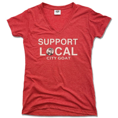 CITY GOAT | LADIES RED V-NECK | SUPPORT LOCAL