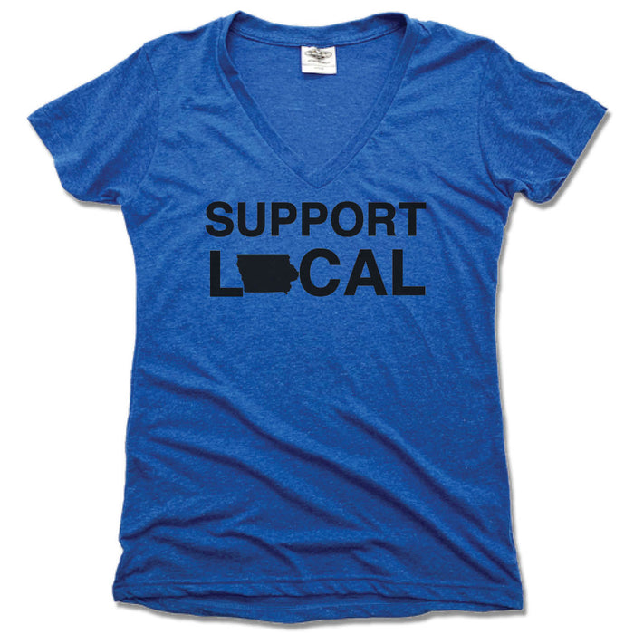 SUPPORT LOCAL IOWA | LADIES BLUE V-NECK