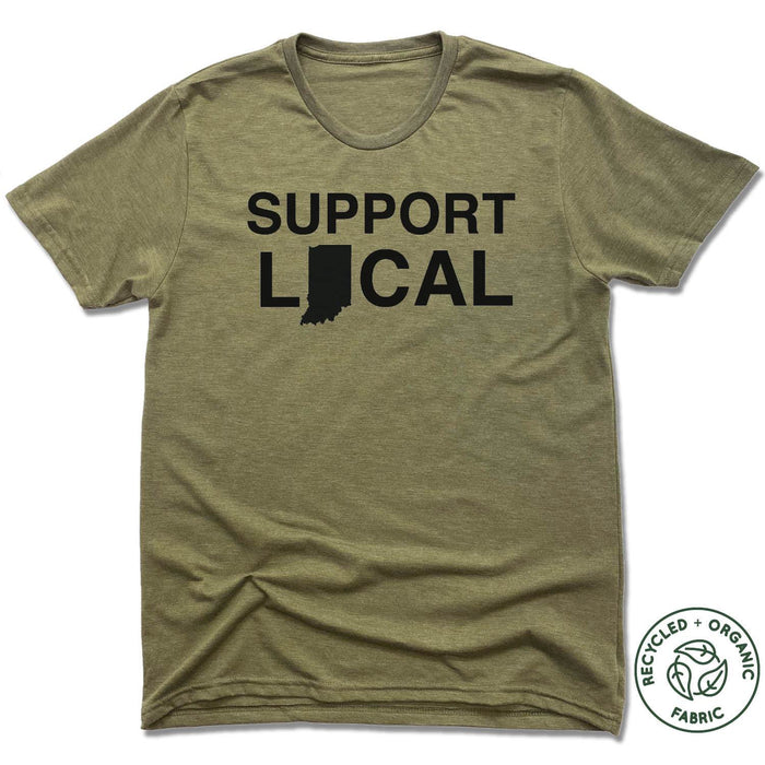INDIANA | UNISEX OLIVE Recycled Tri-Blend | SUPPORT LOCAL