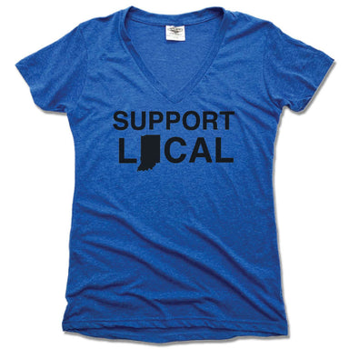 INDIANA | LADIES BLUE V-NECK | SUPPORT LOCAL