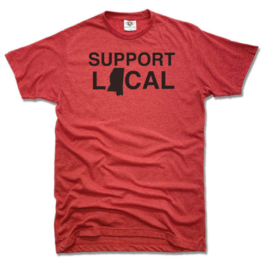 SUPPORT LOCAL | UNISEX RED TEE | MISSISSIPPI