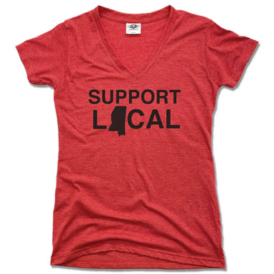 SUPPORT LOCAL | LADIES RED V-NECK | MISSISSIPPI