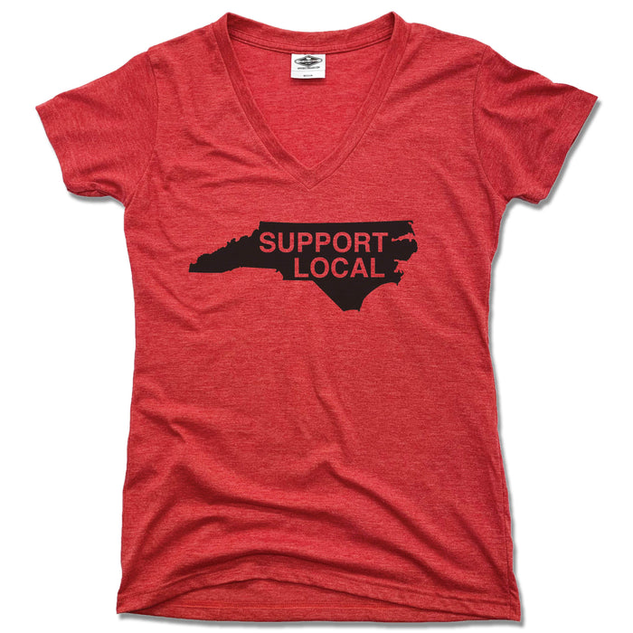 NORTH CAROLINA | LADIES RED V-NECK | SUPPORT LOCAL