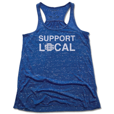 SUPPORT LOCAL | LADIES BLUE FLOWY TANK | OS MISSISSIPPI