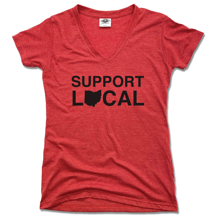 Support Local Ohio | LADIES RED V-NECK