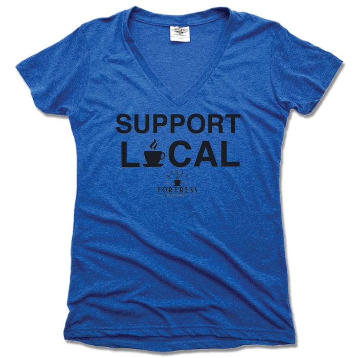 STEEL FORTRESS COFFEE | LADIES BLUE V-NECK | SUPPORT LOCAL