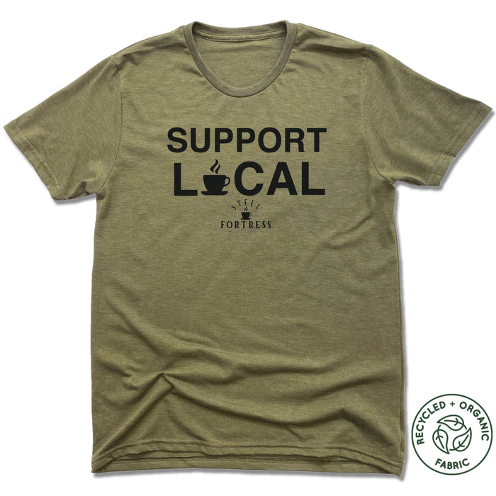 STEEL FORTRESS COFFEE | UNISEX OLIVE Recycled Tri-Blend | SUPPORT LOCAL