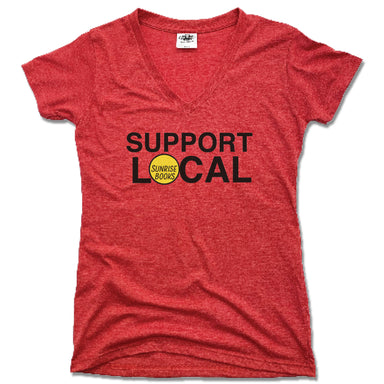 SUNRISE BOOKS | LADIES RED V-NECK | SUPPORT LOCAL