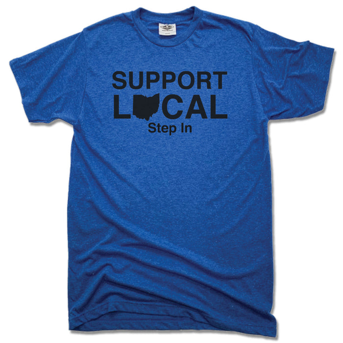 SUPPORT LOCAL OHIO | UNISEX BLUE TEE | STEP IN