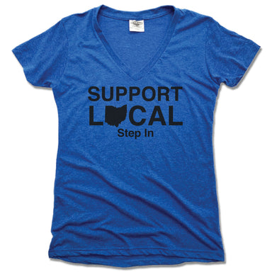 SUPPORT LOCAL OHIO  | LADIES BLUE V-NECK | STEP IN