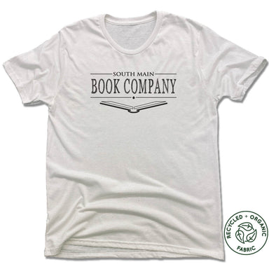 SOUTH MAIN BOOK CO. | UNISEX WHITE Recycled Tri-Blend | BLACK LOGO