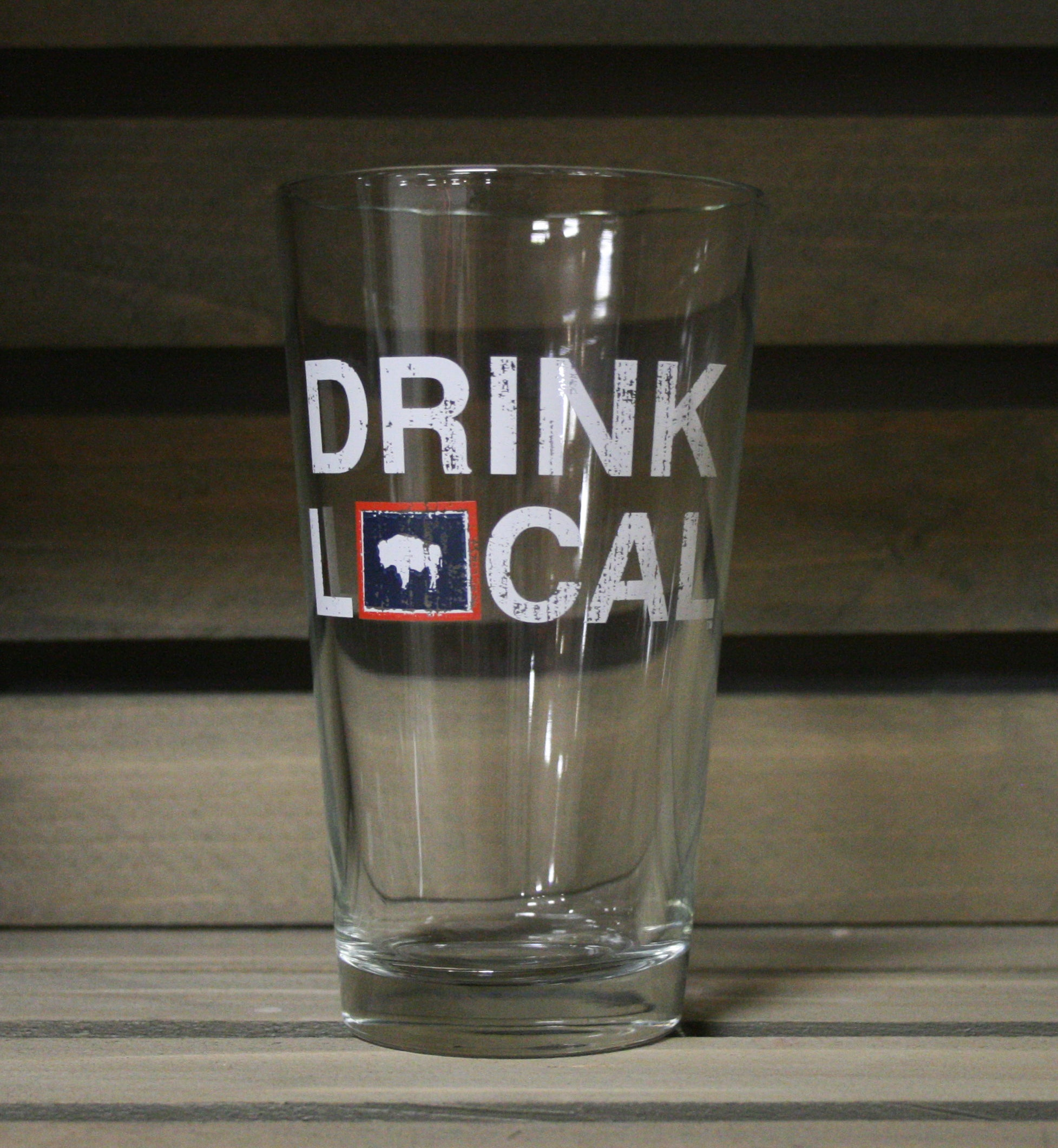 WYOMING PINT GLASS | DRINK LOCAL | FLAG