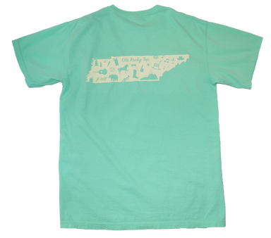 TENNESSEE MINT GREEN POCKET TEE | OUTLINE | PALE YELLOW