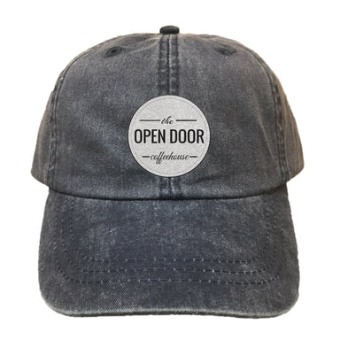 THE OPEN DOOR | EMBROIDERED BLACK HAT | WHITE LOGO - SOLID