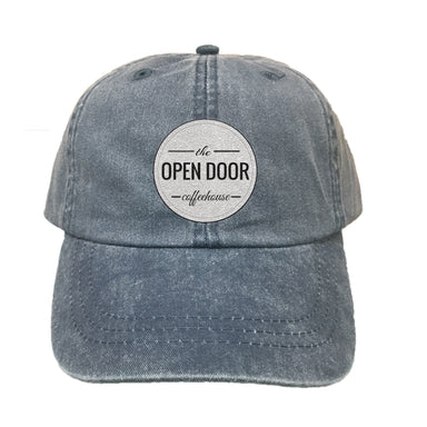 THE OPEN DOOR | EMBROIDERED NAVY HAT | WHITE LOGO - SOLID