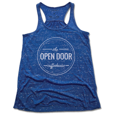 THE OPEN DOOR | LADIES BLUE FLOWY TANK | LOGO - WHITE