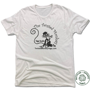 TWISTED MONKEY YOGA | UNISEX WHITE Recycled Tri-Blend | BLACK LOGO