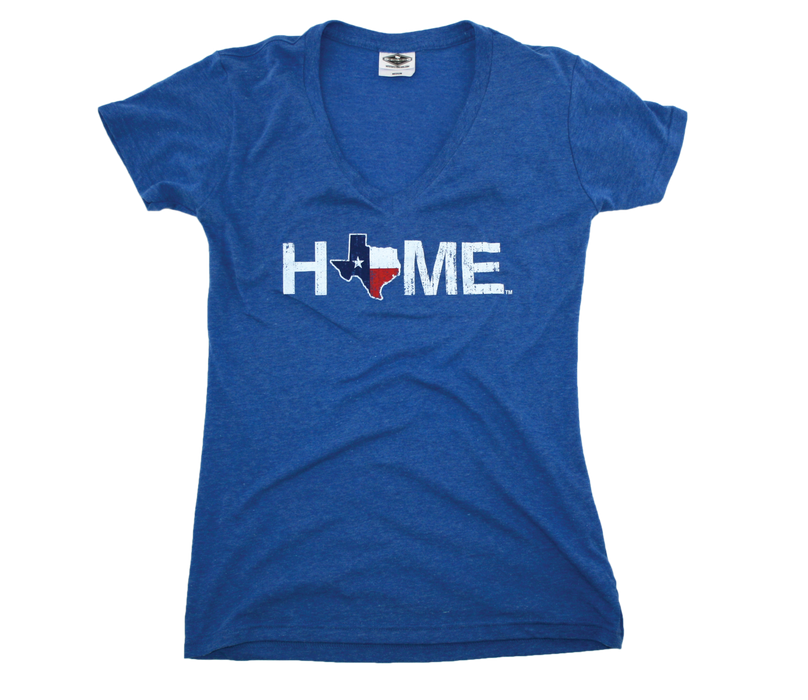 TEXAS LADIES BLUE V-NECK | HOME | FLAG