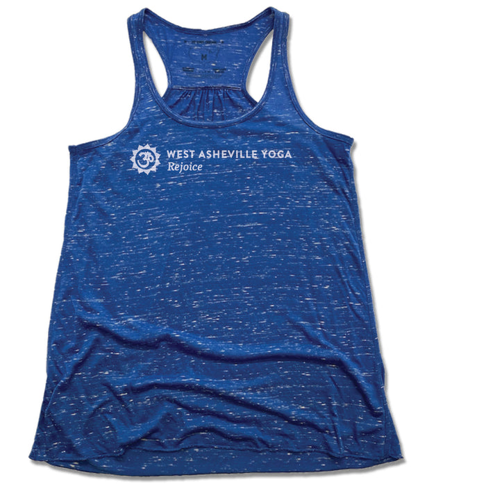 WEST ASHEVILLE YOGA | LADIES BLUE FLOWY TANK | LOGO