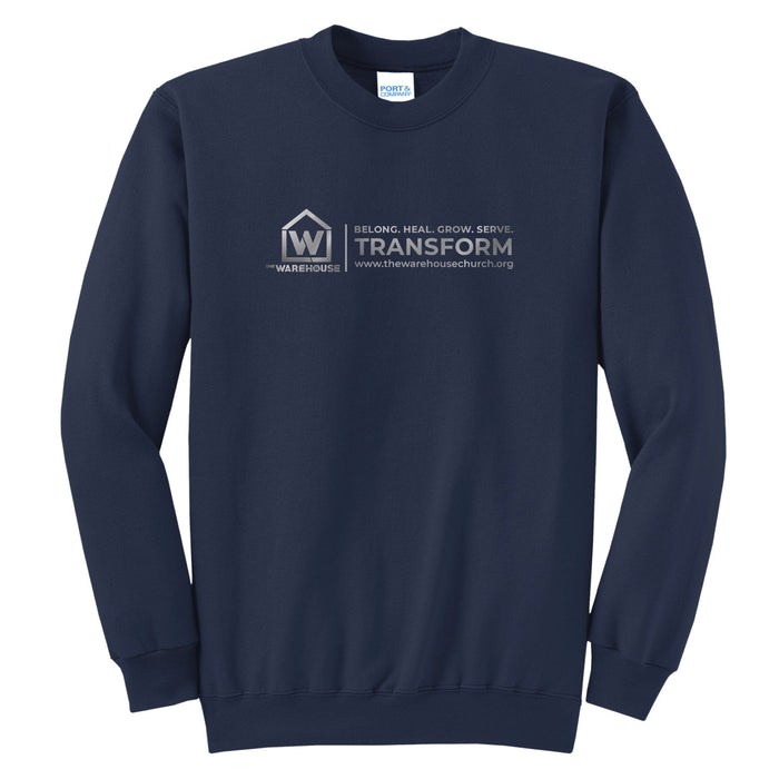 The Warehouse Church | Crew Sweatshirt | Silver Horizontal Logo