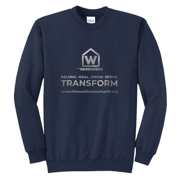 The Warehouse Church | Crew Sweatshirt | Monogram Silver