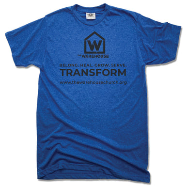 THE WAREHOUSE CHURCH | UNISEX BLUE TEE | MONOGRAM BLACK