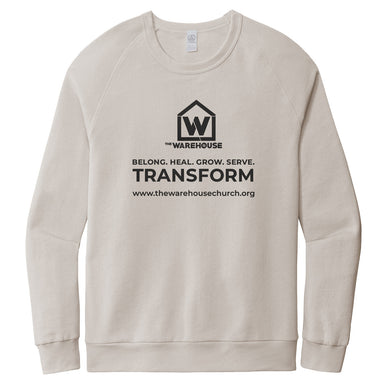 The Warehouse Church | Washed Terry Sweatshirt | Monogram Black