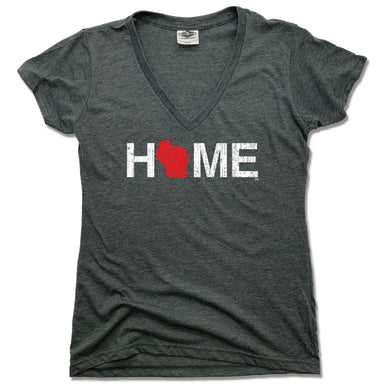WISCONSIN LADIES V-NECK | HOME | RED - My State Threads