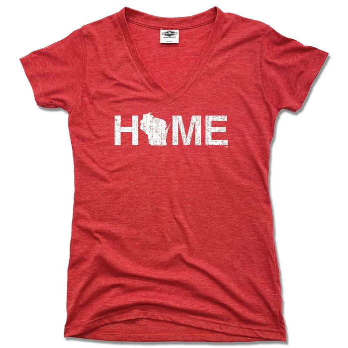 WISCONSIN LADIES V-NECK | HOME | WHITE