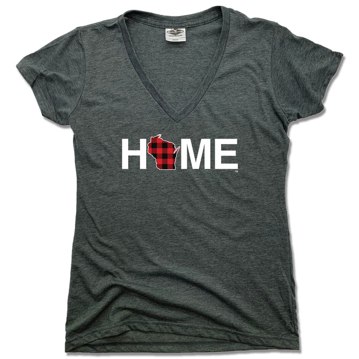 WISCONSIN LADIES V-NECK  TEE | HOME | PLAID
