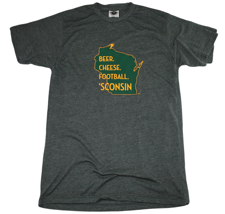 WISCONSIN TEE | BEER, CHEESE, FOOTBALL | GREEN/YELLOW